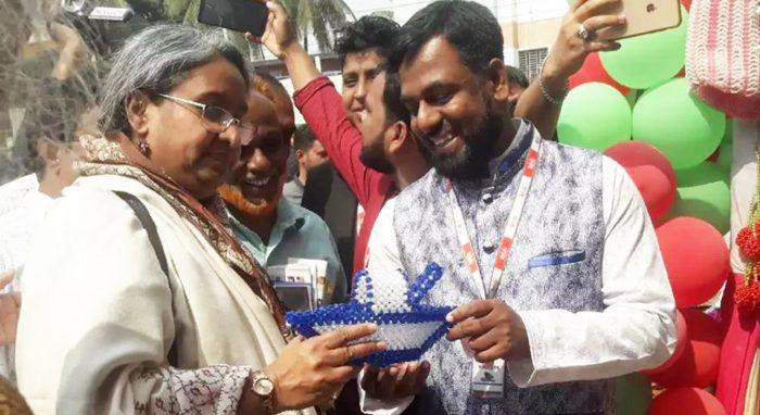 Minister of Education Dipu Moni visiting Ambala Foundation Stall